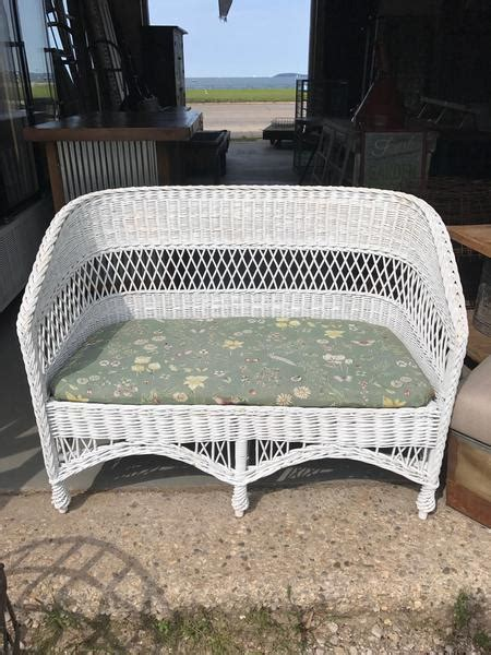 White Wicker Loveseat by White Wicker Loveseat Antiquities Barn