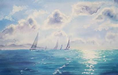 Watercolor Sky Sea Nature Wallpapers Desktop Painting