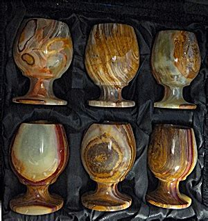 Alabaster Egg Cups With Velvet Case, 6 cups (Kitchen