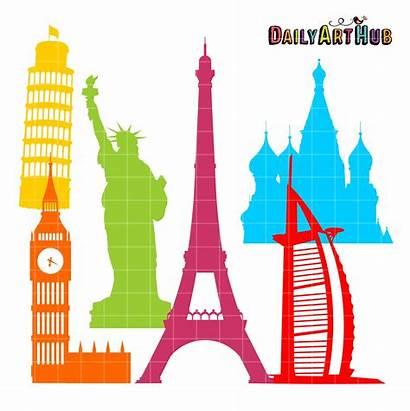 Landmarks Silhouettes Clip Clipart Famous Place Places