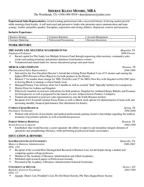 resume master of business administration