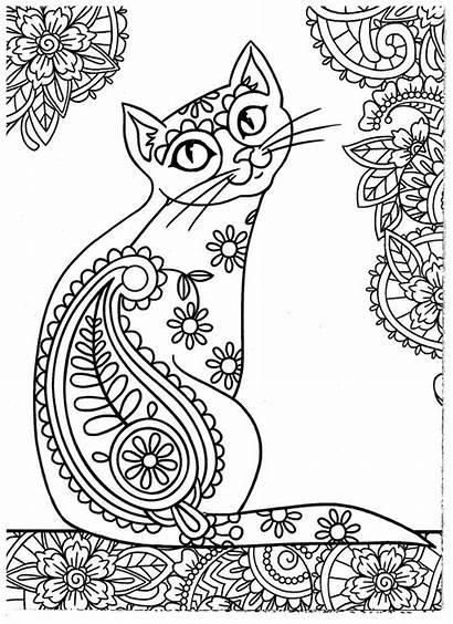 Coloring Mandala Cat Pages Colouring Cats Printable