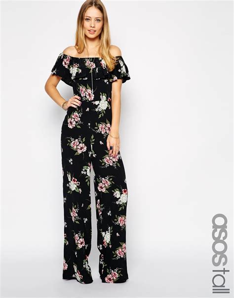 boho jumpsuit lyst asos exclusive boho floral shoulder jumpsuit
