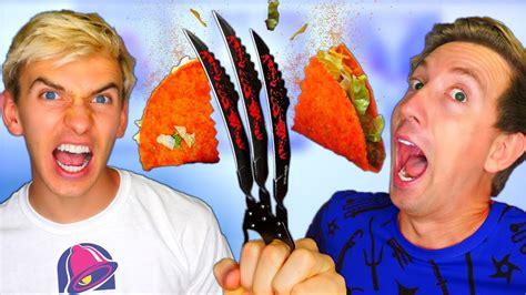 Slow Mo Ninja Weapons Vs Tacos 🌮🔔 W/ Stephen Sharer