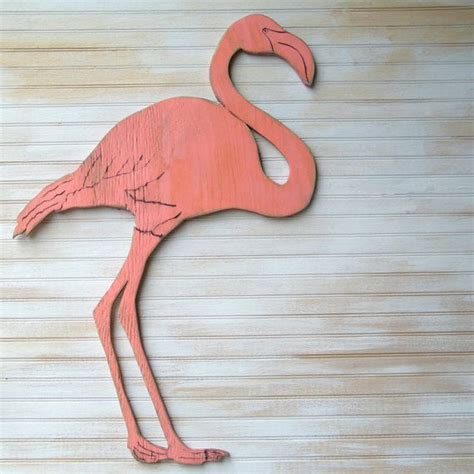 flamingo wooden art pink flamingo coral florida coastal
