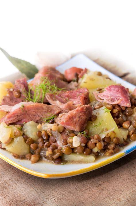 cuisine lentilles vertes recette jarret de porc aux lentilles vertes