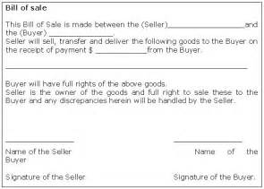 Sle Of A Bill Of Sale For An Automobile by Bill Of Sale Form Template Sle Business Templates