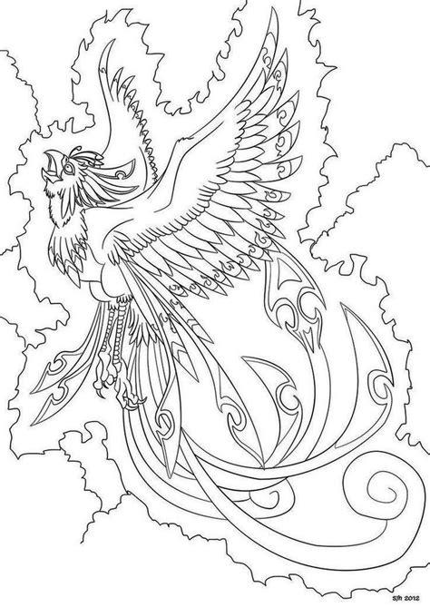 Phoenix Bird Coloring Page Printable | Bird coloring pages, Adult coloring pages, Mandala coloring