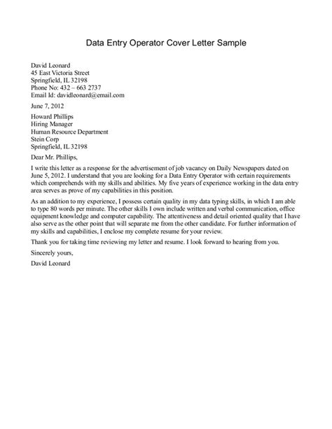 cover letter for the of data entry cover letter