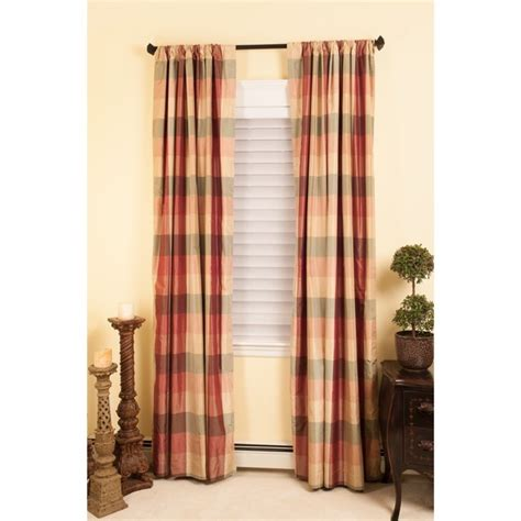 buffalo plaid silk taffeta panel silk curtain panels