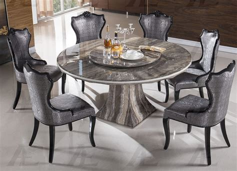 7 Piece Emma Dark Brown Marble Round Dining Set In Room Dining Menu Country Set The Philharmonic Rooms Painted Chairs Furniture Sale Rustic Seat Cushions Designer Table