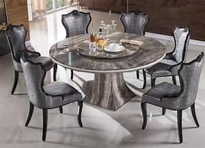 7 Piece Emma Dark Brown Marble Round Dining Set