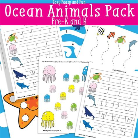 ocean animals printables  kids easy peasy  fun