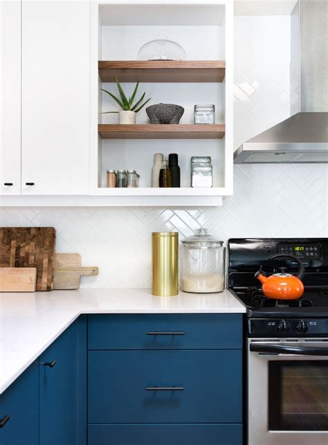 This Home Received An Updated Kitchen With Blue Cabinets