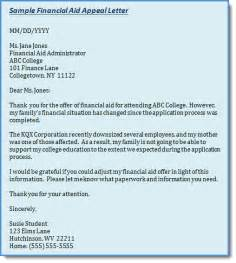 college financial aid appeal letter example Financial Assistance