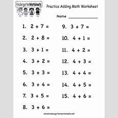 Kindergarten Practice Adding Math Worksheet Printable  Children's Education  Kids Math