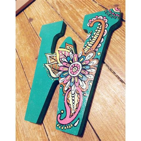 hand painted wooden letters  paisley