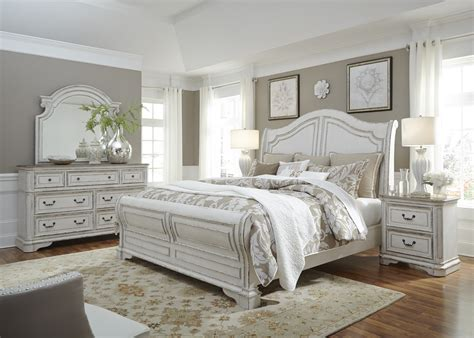 magnolia manor antique white sleigh bedroom set  liberty coleman furniture