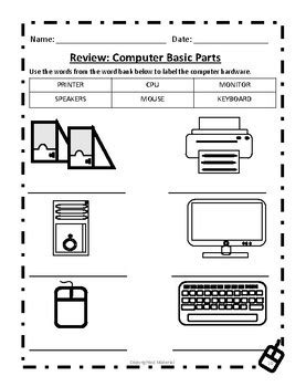 Computer Basic Parts Worksheet by Deans INK | Teachers Pay