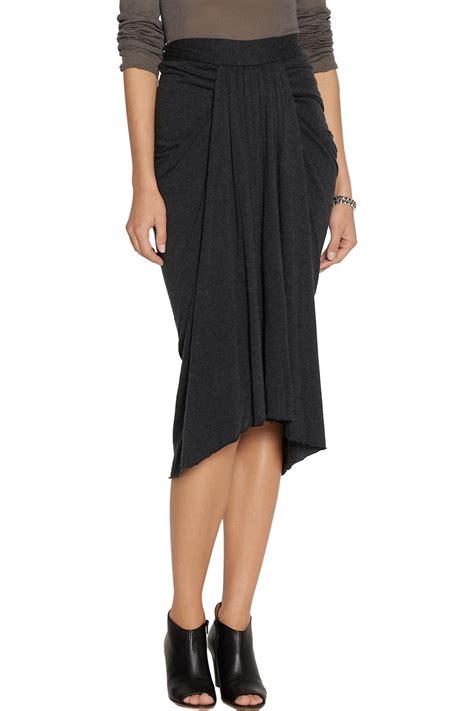 draped skirt rick owens lilies draped jersey midi skirt in black