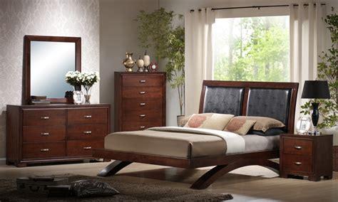raven bedroom set faux leather dark cherry finish