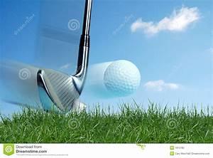 Golf club hitting ball stock photo. Image of grass, ball ...