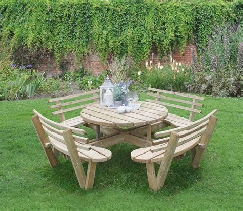 Garden Furniture Seats by Forest Circular Picnic Table With Seat Backs Gardensite