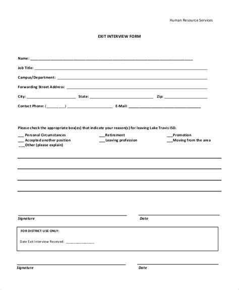 exit interview forms templates sample exit interview form 10 examples in pdf word