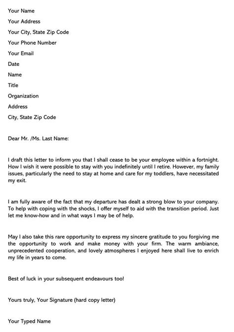 Resignation Letter Due To Family Reason For Your Needs | Letter Template Collection