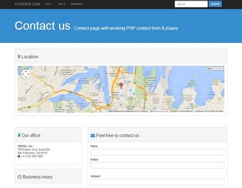 contact page bootstrap  template  working php form