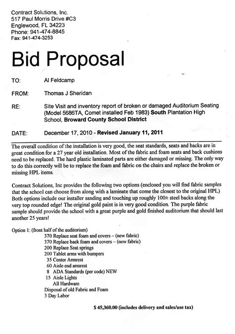 sample bid proposal  printable documents