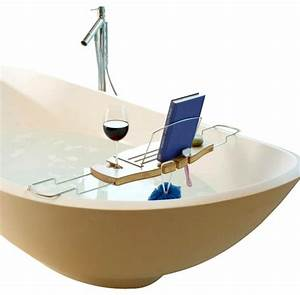 Umbra aquala bamboo bathtub caddy contemporary for Bathroom caddies accessories