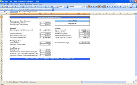 house affordability calculators excel templates