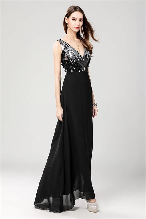 Floor Length Black High Slit Evening Gown Formal Dresses ...