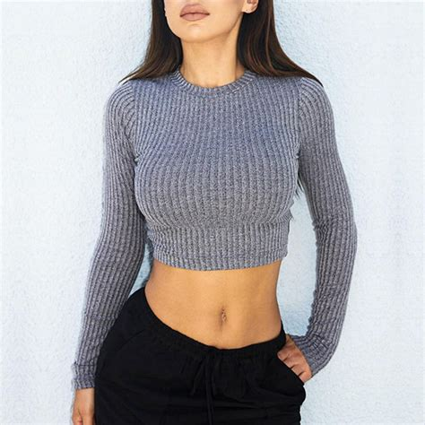Top ribbed knit crop crop tops grey charcoal sexy sexy top long sleeves winter outfits ...