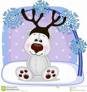 Polar Bear with antlers stock vector. Image of painting ...