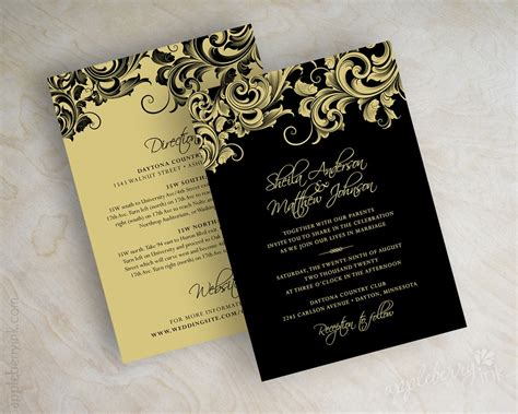 Black White And Gold Wedding Invitations