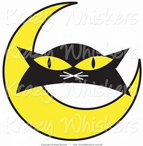 Critter Clipart of a Black Cat's Face with Yellow Eyes ...