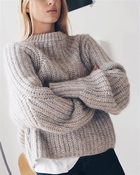 Grey u0026 black   chunky light grey ribbed sweater   high neck   oversized loose   + black pants ...