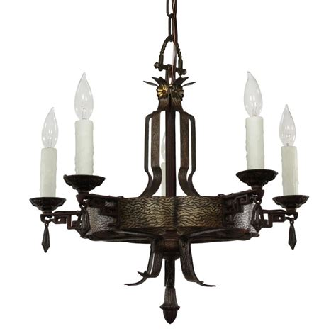 antique cast iron tudor chandelier c 1920 from