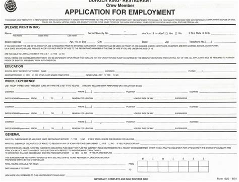 Do You Need A Resume For Burger King by Burger King Application Form Fillable Pdf