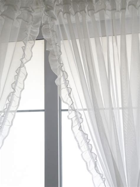 white sheer voile curtains voile ruffle curtain