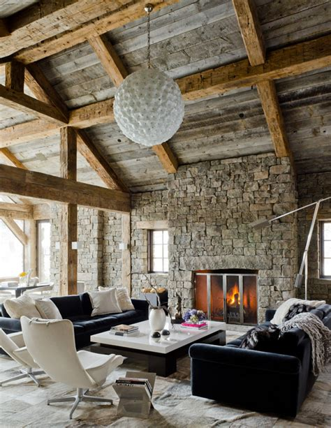 rustic home interior design wonderful living room applying rustic home decor ideas with black white sleek table furnished