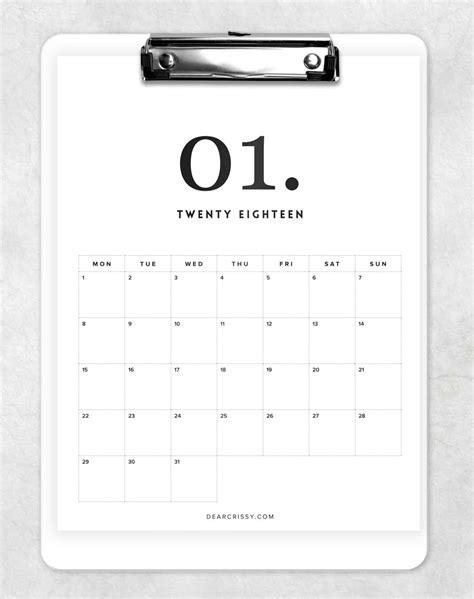minimal calendar printable modern calendar