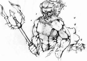 Gallery For > Poseidon With Trident Drawing