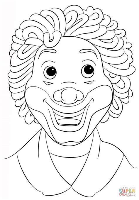 Kleurplaat Clowsgezicht by Clown Coloring Page Free Printable Coloring Pages