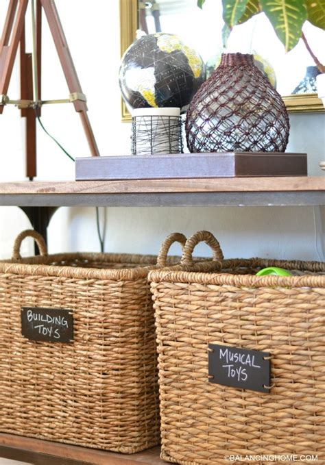 sofa table with baskets storing toys maintaining style balancing home with megan bray