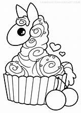 Llama Coloring Cupcake Cute Kawaii Alpaca Yampuff Pages Drawing Cupcakes Lineart Colouring Para Clipart Colorir Drawings Line Printable Desenho Llamas sketch template