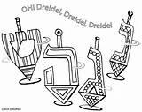 Hanukkah Coloring Dreidel Song Pages Printable sketch template