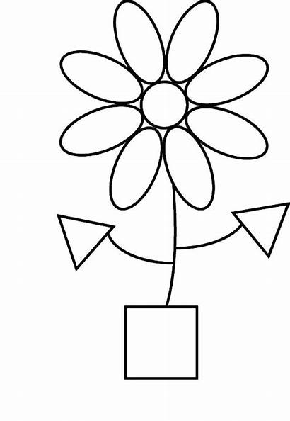 Shapes Coloring 3d Pages Flower Colouring Printable